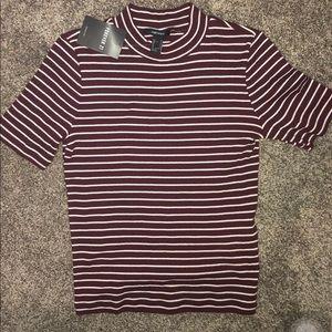 BRAND NEW maroon striped tshirt!
